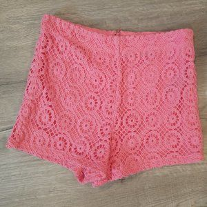 Coral Crochet Lace High Rise Shorts Small